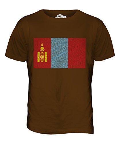 CandyMix Mongolei Kritzelte Flagge Herren T Shirt Braun