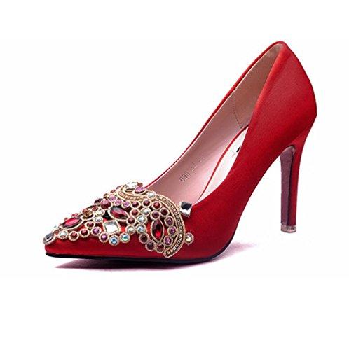 I sandali sposa diamante multa con tacchi a punta scarpe da sposa scarpe da sposa Red