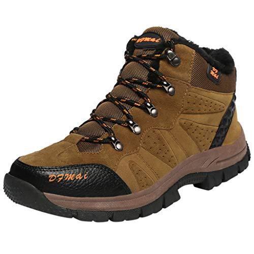 HDUFGJ Herren Trekking-& Wanderhalbschuhe Plus Samt Warm halten Outdoor-Schuhe Schneeschuhe Freizeitschuhe rutschfeste Verschleißfest Wasserdicht Leichtgewicht Turnschuhe Fitnessschuhe 39 EU(Braun)