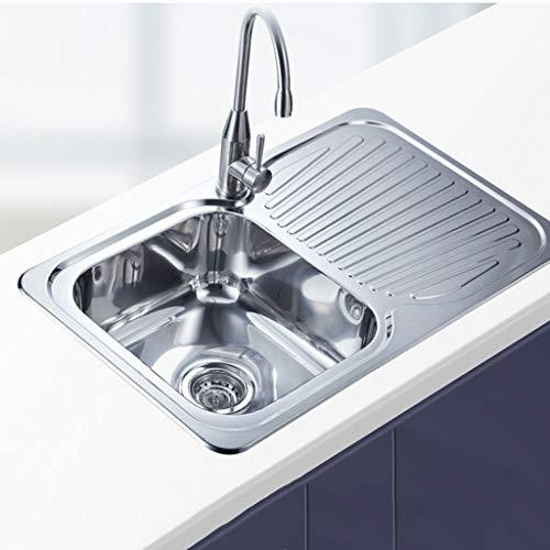 Fente simple d'évier d'acier inoxydable balayé par mat avec le plat de drain facile à nettoyer l'évier de cuisine 190mm profondément Meubles-lavabos