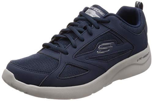 Skechers Dynamight 2.0-Fallford, Scarpe da Ginnastica Uomo, Blu (Navy Leather/Mesh/Pu/Trim Nvy), 43 EU