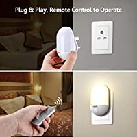 LED Night Light, OMERIL Night Lights Plug in Wall with Remote Control, Timing Function, Warm Yellow/Cool White Switchable Lighting and 3 Adjustable Brightness, Dimmable Night Lamp for Kids/Baby Room, Hallway, etc【Upgraded】 by OMERIL