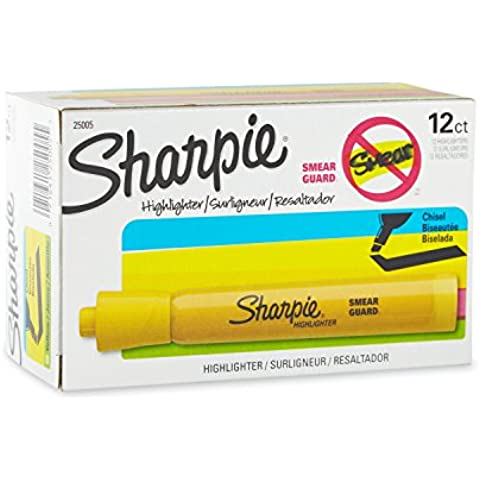 Accent Tank Style Highlighter, Chisel Tip, Yellow, 12/Pk, Sold as 1 Dozen