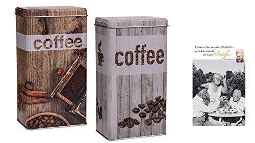 Metall Kaffeedose 'Vintage Look' 2 Stück & Postkarte 'Filterkaffee' - Set ~