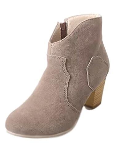 Minetom Damen Britische Retro Chelsea Ankle Boots Kurzstiefel Elegant Hohen Absätzen Schuhe Stiefel Reitstiefelette Gummistiefelette Beige EU 35