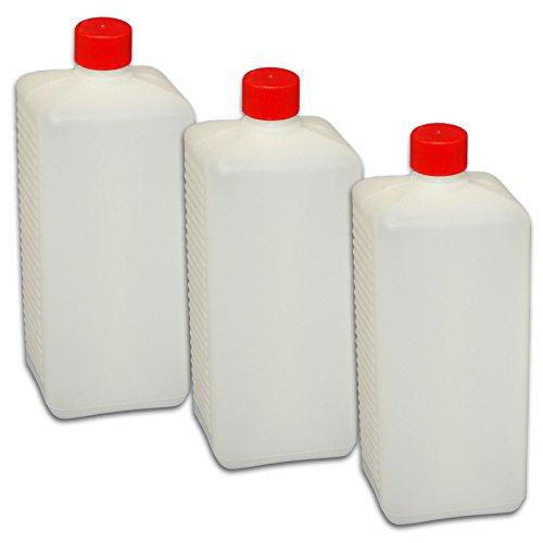 3 x 1000 ml Abfüllflasche mit Deckel und Dichtung *Plastikflasche zum abfüllen von Flüssigkeiten* Lotionflasche eckig weiss NEU