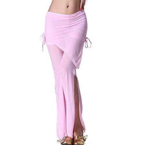 Damens Bauchtanz Hip Scarf Pant Side Slit Tanzenwear Tanzen Clothes Light Pink