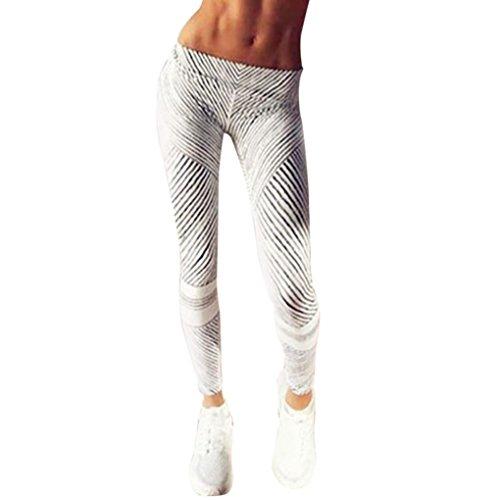 HARRYSTORE Mujer pantalones impresos y elásticos de yoga en blanco y negro rayas Mujer polainas deportivos Fitness Leggings (S, Blanco)