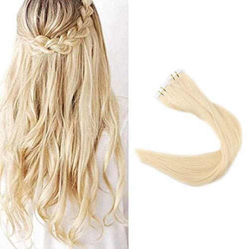 Full Shine 22 Zoll 40 Stuck100g 100% Echthaar Staight Remy Human Haarverlängerung Color #613 Blonde Skin Weft Glue in Human Hair Extensions Tape in Haarverlängerung