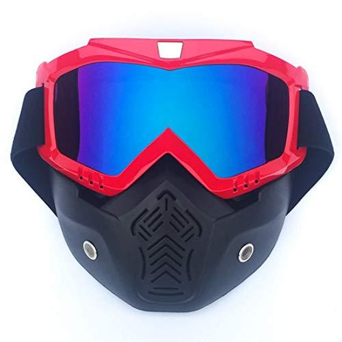 ArtHalle Motorrad Maske Brille Retro Halbhelm Maske Augenschutz Cross Country Goggles (Color : Black red)