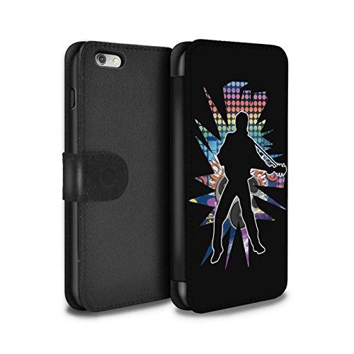 STUFF4 PU-Leder Hülle/Case/Tasche/Cover für Apple iPhone 6+/Plus 5.5 / Solo Weiß Muster / Rock Star Pose Kollektion Elvis Schwarz