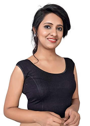 Vamas Black Cotton Lycra Stretchable Sleeveless Blouse  available at amazon for Rs.420