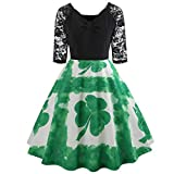 IZHH St Patrick's Day Ladies Dresses GrüNes Damen Half Sleeve GrüNes Klee-Retro Kleid Lace Patchwork Print Flare Dress Fashion St. Patrick TageskostüM Dress(Grün-3,Small)