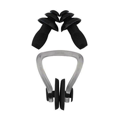 »Squeeze« stringinaso + tappi per le orecchie, ergonomici e idonei per nasi e orecchie di tutte le forme. Il silicone di qualità a luna durata / Nero