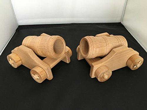 Lot de 2 Bombardes - Canon du moyen âge - en bois sur roulettes - Artisanat Véritable
