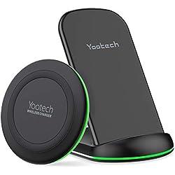 YOOTECH Chargeur à Induction, [2-Pack] 7.5W Qi Chargeur sans Fil pour iPhone XS MAX/XR/XS/X/8/8 Plus, 10W Wireless Charger pour Galaxy S10+/S10/S10e/Note 9/S9/S9 Plus/Note 8/S8 Plus (sans Adaptateur)