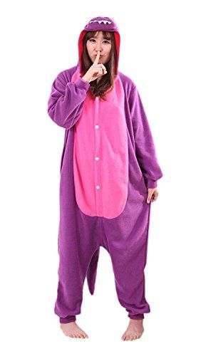 URVIP Jumpsuit Tier Cartoon Fasching Halloween Kostüm Sleepsuit Cosplay Fleece-Overall Pyjama Erwachsene Unisex Schlafanzug Tier Onesie mit Kapuze Violett Drache Medium