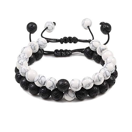 Imagen de pulseras 2pcs / set parejas distancia pulseras de trenzas piedra natural blanco y negro ying yang beads pulsera best friend strand jewelry joyería