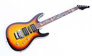Elektrische Gitarre, Sunburst mit Floyd Rose Tremolo & Dragon aus Perlmutt