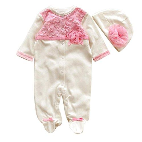 Longra Bébé Filles Princesse Romper+Chapeau (0-3M, Blanc) Longra Baby Dress