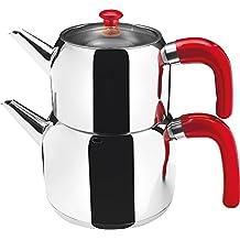Türkischer Teekocher Caydanlik mit Teekanne Cagla mit schwarzem oder rotem Griff 1,25 / 2 Liter, Farbe:Rot