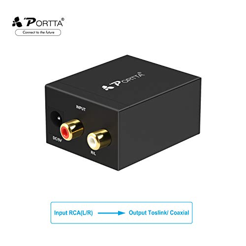 Convertitore da Analogico a Digitale, Portta Adattatore Audio Analog-Digital o RCA to Digital Audio Converter - Cavo Jack e RCA a SPDIF/Toslink/Ottico/Coassiale per PS3 Xbox360 HDTV Blue Ray Sky ecc