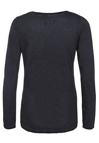 Sublevel Damen Longsleeve mit Batman Logo aus Pailletten | Basic Langarmshirt in grau und schwarz aus bequemer Baumwolle Dark-Grey