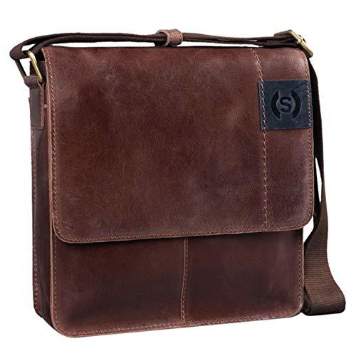 STILORD 'Mircos' Tablet Umhängetasche Leder 9.7 Zoll iPad Tasche für Herren Männer mittel-große Schultertasche Vintage Ledertasche Messenger Bag Echtleder, Farbe:Messina - braun