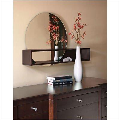 nexxt Tate Series Round Mirror with Intersecting Shelf, Espresso