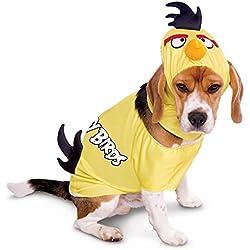 Perro para Carnaval Disfraz Angry Birds Yellow Bird pájaro amarillo rosa Rosa Talla:L