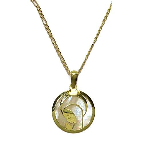 """Collar """"Especial mi primera Comunión"""" de oro amarillo de 18Ktes con medalla de la Virgen Niña de oro y nácar.18mm Never say never"""