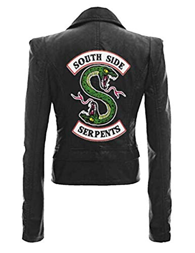 FAIRYRAIN Riverdale Southside Serpents Jacket für Mädchen schwarzes Kunstleder Slim Fit Mode Lederjacke Damen Kostüm Jacke