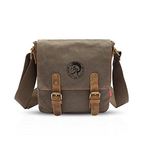FANDARE Casual Messenger Bag Umhängetasche Schultertasche Tasche Kuriertasche Frauen Herren Segeltuch Grün (Casual Tasche Leinwand)