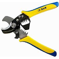 S&R Coupe câble électrique en cuivre/ Couteau à dénuder 170mm/ Coupe câble jusqu'à 11 mm / dénudeur AWG 14,12,10,8 [Classe énergie Industrie]