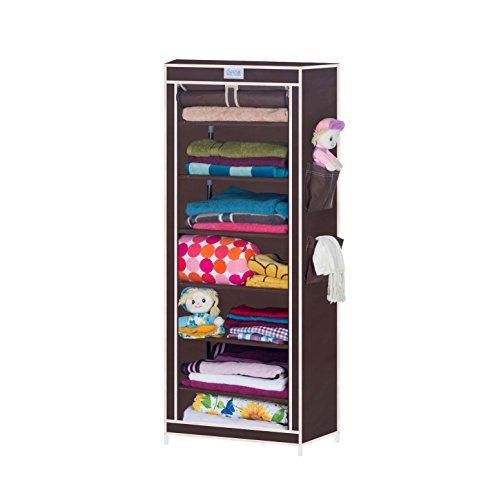 Cbeeso Metal Foldable Seven Layer Cabinet (Finishing Colour-Dark Brown)