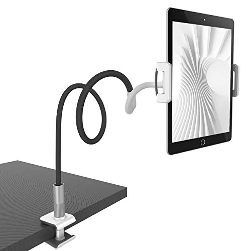 Lamicall Schwanenhals Tablet Halter, Tablet Halterung : Lazy Flexible Einstellbare Lang Arm Ständer für Pad Mini 2 3 4, Neu Pad Pro 2018, Pad Air, Phone, und Weitere 4,7-10,5 Zoll Geräte - Schwarz