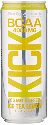 Body Attack BCAA KICK, Ice Tea Lemon, 1er Pack (12x 330ml + Pfand (12x 0,25€))