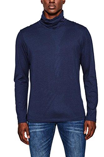 edc by ESPRIT Herren Langarmshirt 097CC2K021, Blau (Navy 400), X-Large (Rollkragen-shirt)