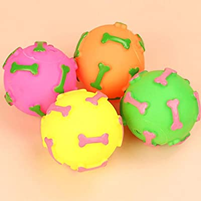 Transer® Pet Rubber Ball, Chew Treat Holder Bell Sound, Puppy Dog Cat Fun Play Toy
