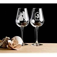 Beauty And The Beast and Rose Etched Wine Glasses, Set of 1, 2, 3 or 4, matching Shot Glasses and Beer Glasses Available. Ideal for weddings, birthday and Christmas gifts