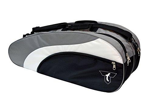Talbot-Torro Racketbag, Schlägertasche für Badminton, Squash, Tennis, passend für 6-12 Rackets, schwarz-silber, 449216