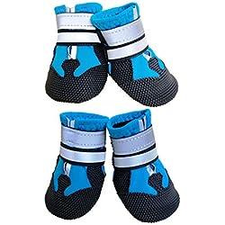 Ewolee Bottes Chien, BotteProtectionChien 4 Pièces Chien Chaussure Respirantes Chausson Antidérapant (S, Lac Bleu)