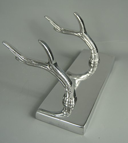 contemporary-modern-silver-chrome-metal-2-antler-coat-hooks-unit