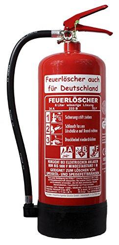 fettfeuerloescher NEU OVP 6 l Fettbrand Schaum Feuerlöscher 34 A, 233 B, 75 F = 10 LE DIN EN3 GS + Wandhalter + Manometer + Standfuß, Fettbrandlöscher ABF