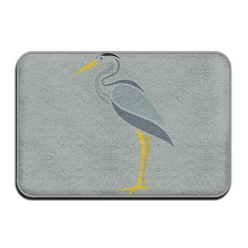 Klotr Fußabtreter, Non-Slip Stain Fade Resistant Door Mat Cartoon White Crane Living Dining Room Rug 23.6 X 15.7 Inch