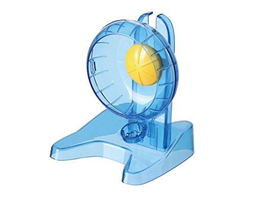SatisPet - Rueda de Ejercicio para Hámster Sirio, Azul, Superficie Antideslizante para Correr, Chinchillas y micrófono, Diseño Ultra silencioso y Seguro para Colas (Pequeño)