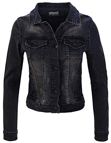 Rock Creek Damen Jeans Jacke Übergangs Jacke Denim Blouson Stretch Kurz Classic Jeansjacken Urban Stonewash D-401 Schwarz XL