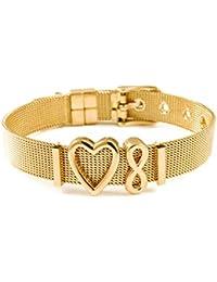THIORA® - Mesh Armband Frauen | Individuelle Anhänger Charms | Größenverstellbar | Damen Charmband | Bracelet