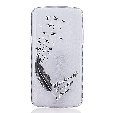 Etui LG K5, Coque LG K5, Cozy Hut® Oiseaux de plumes noires Pattern Etui Housse Téléphone Couverture de doux Plastique Coque pour LG K5 - plumes