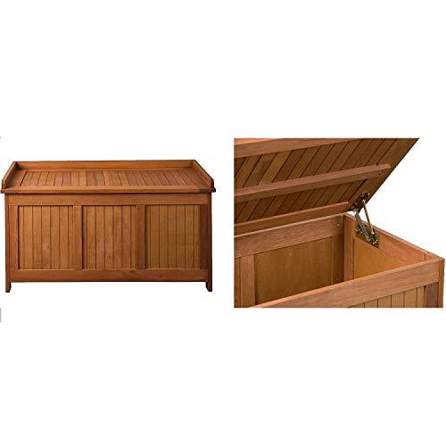 STILISTA® Gartenbank Gartenbox aus 100% FSC zertifiziertem Shorea-Hartholz, geölt, Liftautomatik, inkl. Kissen in Farbe natur, 113 x 52,5 x 60,5 cm, Auflagentruhe - 4